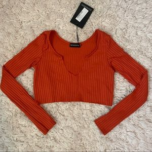 NWT PrettyLittleThing Dark Orange Ribbed Crop Top
